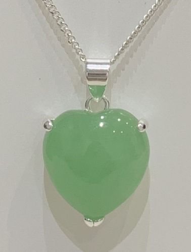 Silver Heart Shaped Green Jade Necklace